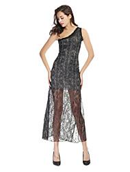 Clubwear Dresses Women's Spandex/Polyester/Elastic Silk-like Satin/Lace Lace 1 Piece Black