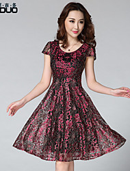 Women's O-neck Gold Thread Lace Flower Printed Short Sleeve Elegant Knee-length Pleated Dress