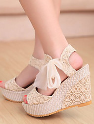 Vinda Women's Shoes Black/Almond Wedge Heel 10-12cm Sandals (PU)