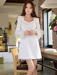 DABUWAWA Women's Lace/Party Square Long Sleeve Ruffles Dresses (Elastic/Polyester/Viscose)
