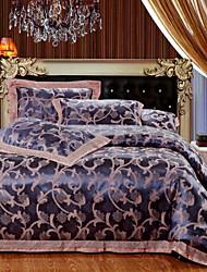 4-Piece The high-end Floral Jacquard Cotton Queen Duvet Cover Sets Eskimo