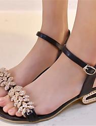 Sandálias ( Borracha , Preto/Dourado/Prateado ) Sapatos de Senhora - Salto Massudo - 3-6cm