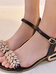 Keilabsatz - 3-6cm - Damenschuhe - Sandalen ( Gummi , Schwarz/Gold/Silber )