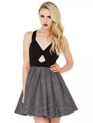 Women Sexy V Neck Sleeveless Bowknot Backless Hollowing Splice Streaks Party Dress