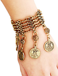 Vintage Turkish Bohemia Ethnic Coin Tassel Link Bracelet Gold-toned Brass Bangle Belly Dance Fashion Jewelry Gifts