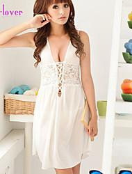 Nuisette & Culottes Chemises & Blouses Lingerie en Dentelle Robe de chambre Ultra Sexy Vêtement de nuit Femme Couleur PleineMousseline de