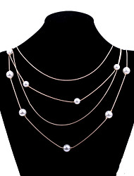 Fashion Women's Sweater Chain with Pearl Beads Three Lines Alloy Gold chain Long Necklace