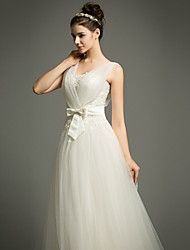 A-line Wedding Dress Court Train Straps Tulle with