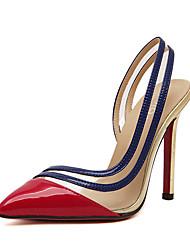 DamenKleid-Kunstleder-Stöckelabsatz Plateau-Plateau-Rot Gold