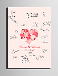 E-HOME® Personalized Signature Canvas Frame-Rose Love Coral Wedding