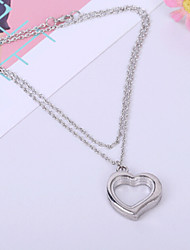 Women's Fashion Jewelry DIY Vintage Casual Alloy Heart Shape Glass Photo Frame Pendant Necklace