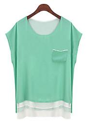 T-Shirts ( Chiffon ) MULHERES - Sexy/Bodycon/Casual/Renda/Pesta/Trabalho Redondo - Manga Curta