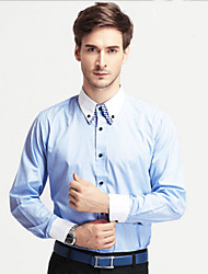 Men's Business/Casual/Formal/Plus Sizes Double Neck Plaids & Checks Long Sleeve Regular Shirts