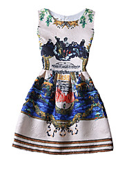 Retro Lady Women's Print/Party Round Sleeveless Dresses