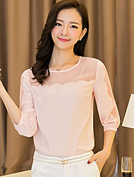 Mulheres Camiseta Decote Redondo Manga Longa Com Transparência Chifon Mulheres