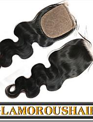 "8""-24"" Malaysian Silk Base Closure Body Wave Size 4x4 Natural Black Free Part Virgin Human Hair Silk Lace Closure"