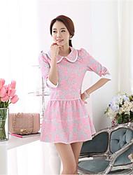 Women's Pink Dress , Work ¾ Sleeve