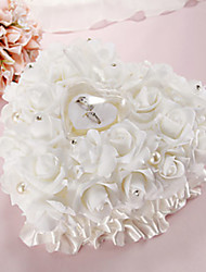 Lace Heart Shape With White Rose and Bow Ring Box Pillow for Wedding(26*26*14cm)