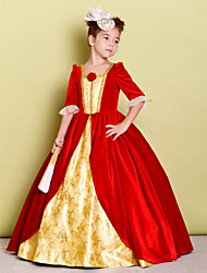 A-line Floor-length Flower Girl Dress - Velvet Half Sleeve Square with Flower(s)