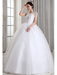 Ball Gown Floor-length Wedding Dress -V-neck Tulle