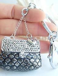 bolsa chaveiro bolsa encantador com cristais de strass cinza
