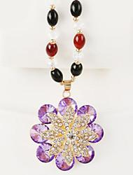 Charm Flower Shape Vintage/Party/Casual Alloy/Cubic Zirconia Pendant Necklace