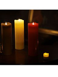 SIMPLUX™ 3*9 Inch Moving Wick Flameless Real Wax LED Pillar Candle Light With Timer,Battery-Operated,Ivory/Red/Coffee