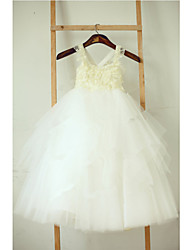 A-line Tea-length Flower Girl Dress - Lace / Tulle Sleeveless Spaghetti Straps with