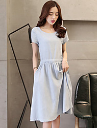 Women's Casual Button Solid Color Short Sleeve Knee-length Dress (Cotton/Linen)