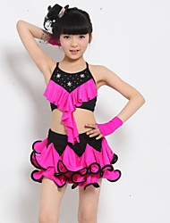 Latin Dance Performance Outfits Children's Performance Polyester Rhinestones/Pleated Outfit Fuchsia/Yellow/Leopard Kids Dance Costumes