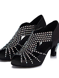 sandálias femininas customizadas latin cetim sapatos de dança de strass (mais cores)