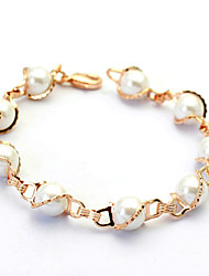 T&C Women's  Concise Style S Style Simulated Pearl Bracelet 18K Rose Gold Plated Top Quality Jewelry