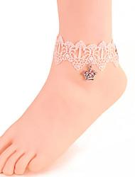 mulheres moda jóias corpo praia verão encanto estilo gótico do vintage do laço ocasional tornozeleiras coroa de cristal