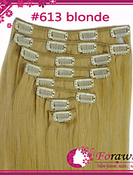 "100g/lot 16""-22"" Clip In Human Hair Extensions #613 Bleach Blonde Straight"
