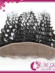 qualidade superior remy brasileiro virgem do laço do cabelo humano 1b frontal 120% 13 * 4inch onda profunda rendas suíço frontal cabelo 8
