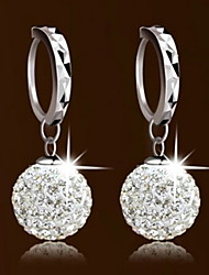 Women's Princess Silver Drop Earrings With Spherical Diamond