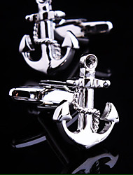Fashion Copper Men Gift Jewelry Silver Plated Anchor Shirt Button Cufflinks(1Pair)