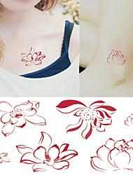 Tender Pink Lotus Tattoo Stickers Temporary Tattoos(1 Pc)