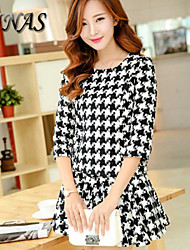 Women's Vintage/Sexy/Party Micro-elastic Long Sleeve Above Knee Dress (Spandex/Polyester/Acrylic)