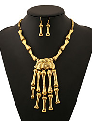 Women's Necklace Suit Fashion Individuality Exaggerate Hand Bone Necklace+Bone Pendant Rings