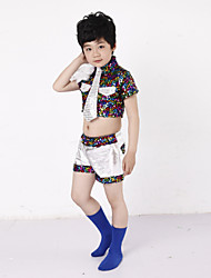 Jazz Performance Outfits Children's Performance/Training Polyester Fashion Sequins Outfit Multi-color Kids Dance Costumes