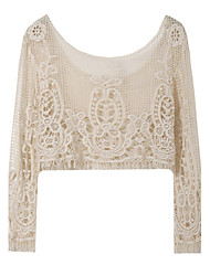 Women's Sexy/Beach/Casual/Lace/Cute/Party Round Long Sleeve Tops & Blouses (Mesh)