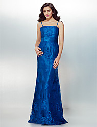 Formal Evening Dress - Royal Blue Plus Sizes / Petite Sheath/Column Spaghetti Straps Floor-length Lace
