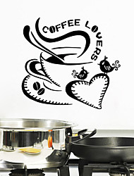 Wall Stickers Wall Decals Style Coffee Lovers English Words PVC Wall Stickers