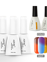 Azure 5 Pcs/Lot Nail Gel Polish Nail Art Color Changing UV Gel Nail Polish for Nail Beauty (#37+#41+#45+BASE+TOP)