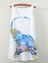 Women's Sleeveless Floral Elephant Graphic Printed Vest