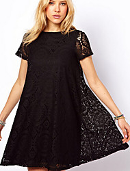 Women's Dresses , Lace Vintage/Sexy/Beach/Lace/Party Short Sleeve M.Dama