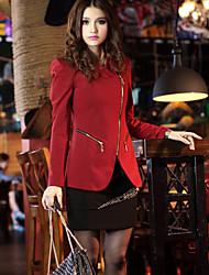 Women's Fall Blazer,Solid Long Sleeve Red / White / Black Medium
