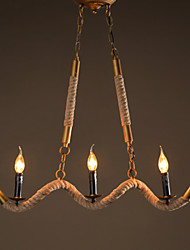 Candle Hemp Chandeliers Vintage Pendant Wrought Iron Bar Restaurant Wave Hemp Rope Chandelier