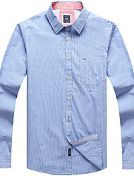 Men's Casual Long Sleeve Cotton Gingham Check Shirts